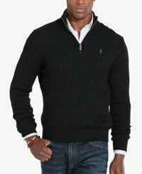 Polo Ralph Lauren Men's Cable Knit Mock Neck Sweater Polo Black