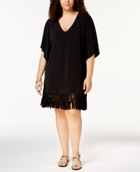 Dotti Plus Size Beach Blossom Tunic Cover Up Women's Swimsuit Black