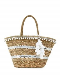 La Sera Dewbell Straw Bucket Tote Bag Neutral