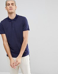 Selected Homme Polo In Polka Dot With Contrast Collar Navy