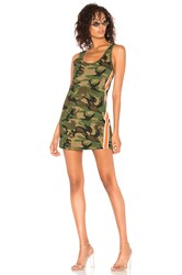 Pam And Gela Tank Dress With Side Stripes Green