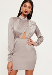 Missguided Grey Silky Wrap Ruched Sleeve Bodycon Dress
