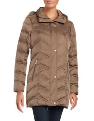 Kenneth Cole Quilted Faux Fur Trim Hooded Jacket Taupe