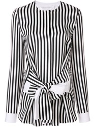Victoria Beckham Striped Tie Front Shirt Women Viscose 12 Black