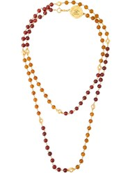 Chanel Vintage Gripoix Beaded Necklace Brown