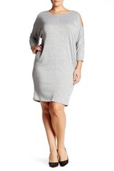 Bobeau Cocoon French Terry Dress Plus Size Gray