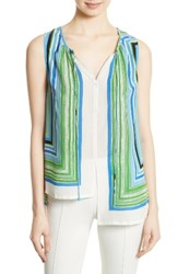 Tracy Reese Women's High Low Shirt Striped Scarf