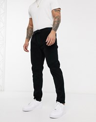 Brave Soul Ron Tapered Drawstring Trousers In Cord Black