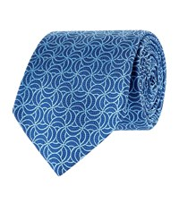 Turnbull And Asser Moon Patterned Silk Tie Unisex Blue
