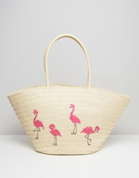 South Beach Embroidered Flamingo Straw Bag Multi
