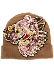 P.A.R.O.S.H. Sequin Embellished Knitted Hat Brown