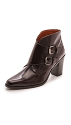 Madewell Monk Strap Heeled Boots Burgundy