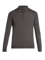 Giorgio Armani Long Sleeved Wool Polo Shirt Grey