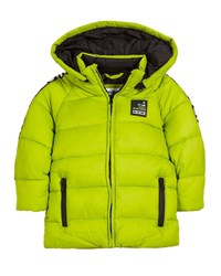 Mayoral Quilted Adventure Tape Puffer Coat W Removable Hood Green