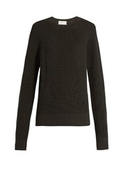 Christophe Lemaire Oversized Ribbed Knit Wool Sweater Dark Grey