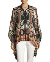 Etro Paisley Print Silk Cape Blouse Black Multi Multi Pattern