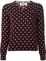 Comme Des Garcons Play Heart Logo Polka Dot Sweater Red