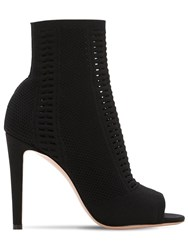 Gianvito Rossi 100Mm Vires Stretch Knit Open Toe Boots Black