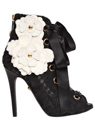 Fausto Puglisi 110Mm Lace And Leather Lace Up Ankle Boots Black White