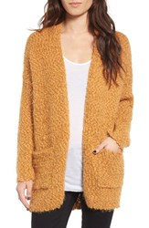 Dreamers By Debut Women's Eyelash Cardigan Mustard