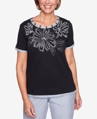 Alfred Dunner Perfect Match Embellished Striped Trim Top Black
