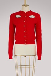 Olympia Le Tan Cashmere Bubble Cardigan Red