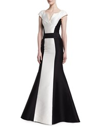 Carolina Herrera Cap Sleeve Tuxedo Colorblock Gown Black White