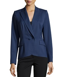 Lafayette 148 New York Two Button Twill Blazer Delft