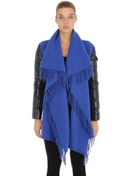 Moncler Wool Cape W Laque Nylon Down Sleeves Midnight