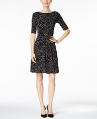 Charter Club Petite Printed Belted Fit And Flare Dress Only At Macy's Deep Black Combo