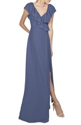 Ceremony By Joanna August Women's 'Lolo' Ruffle V Neck Chiffon Wrap Gown