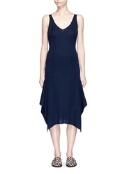 Alexander Wang Scoop Back Wool Knit Dress Blue
