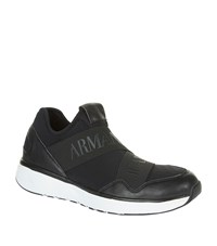 Armani Jeans Front Strap Trainers Male Black