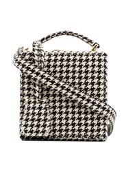 Natasha Zinko Black And White Tweed Wool Box Bag