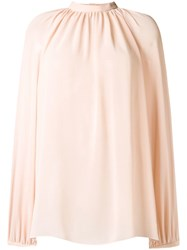 Giamba Draped Loose Fit Blouse Nude And Neutrals