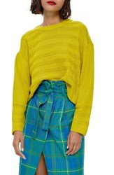 Topshop Ottoman Crop Sweater Lime