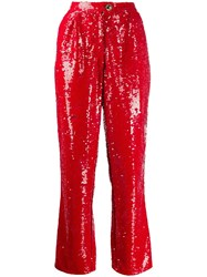 Amen Sequin Trousers Red