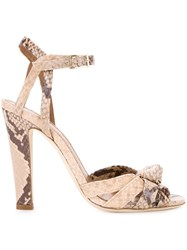 Scanlan Theodore Snakeskin Effect Knot Front Sandals Nude And Neutrals