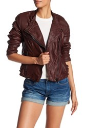 Blanknyc Denim Vegan Faux Leather Moto Jacket Red
