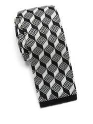Saks Fifth Avenue Anonymous Ism Graphic Print Knit Cotton Tie Brown White Black White