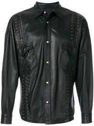 Versace Vintage Lace Up Detailing Leather Jacket Black