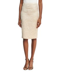 Andrew Gn Floral Jacquard Pencil Skirt Gold