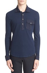 Men's Eidos Napoli Woven Detail Waffle Knit Long Sleeve Polo Shirt Navy