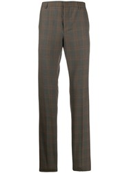 Prada Checked Tailored Trousers Neutrals