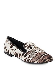 Giuseppe Zanotti Calf Hair Rhinestone Tasseled Loafers Grey