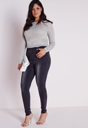 Missguided Plus Size Denim Jeggings Black Black