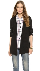 Minnie Rose Hooded Cashmere Duster Black