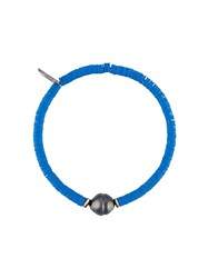 M Cohen M. Sibyl Pearl And Disk Bead Bracelet Acetate Perfluorononylethyl Stearyl Dimethicone Blue