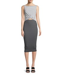 Bailey 44 Rabbit Hole Striped Midi Dress White Black