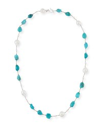 Margo Morrison Turquoise And Baroque Pearl Station Necklace